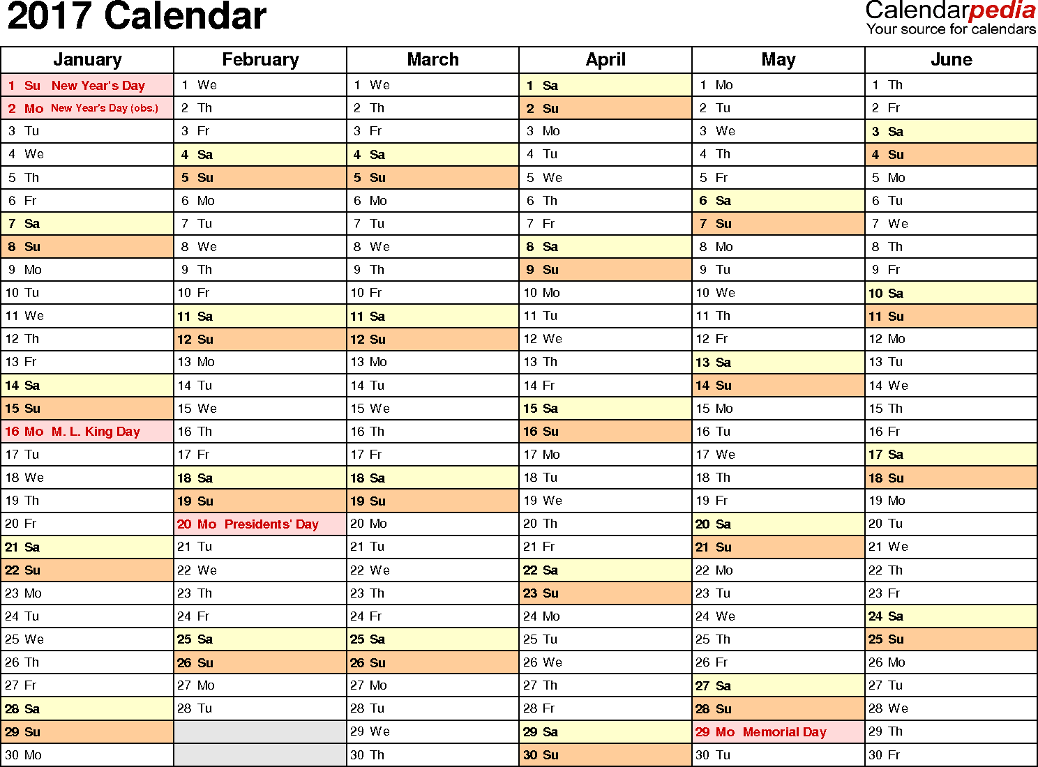 2018 and 2019 staff holiday Excel planner and one page Excel calendar