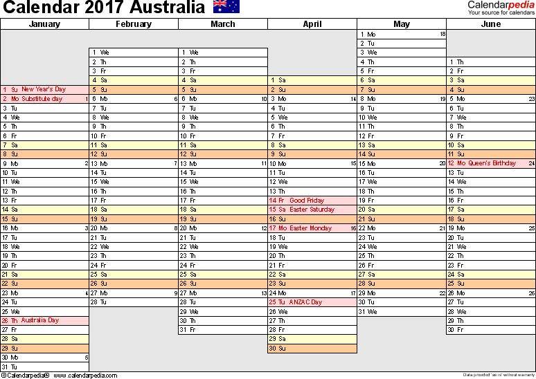 Australia Calendar 2017 free printable Excel templates