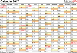 Excel Calendar 2017 (UK): 16 printable templates (xls/xlsx, free)