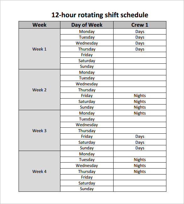 Shift Schedule | Open Office Templates
