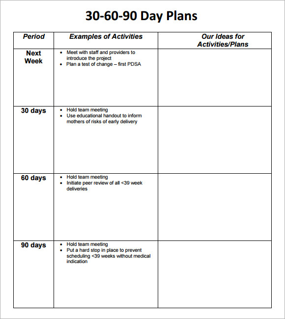 30 60 90 Day Plan Template 8+ Free Download Documents In PDF