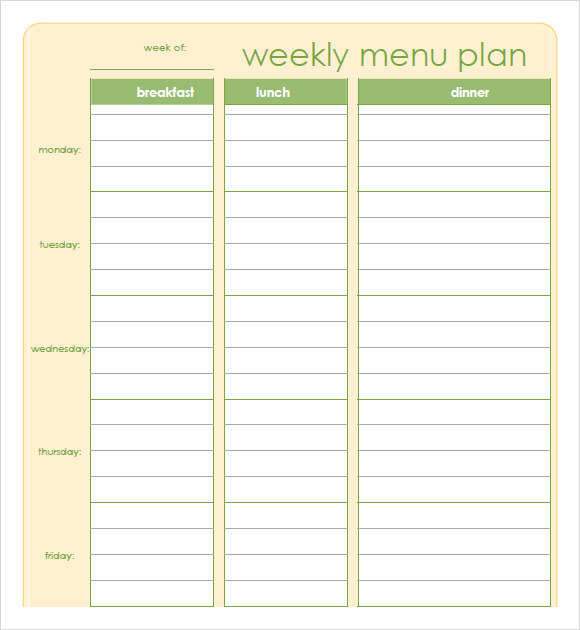 7 Day Meal Planner Template | business letter template