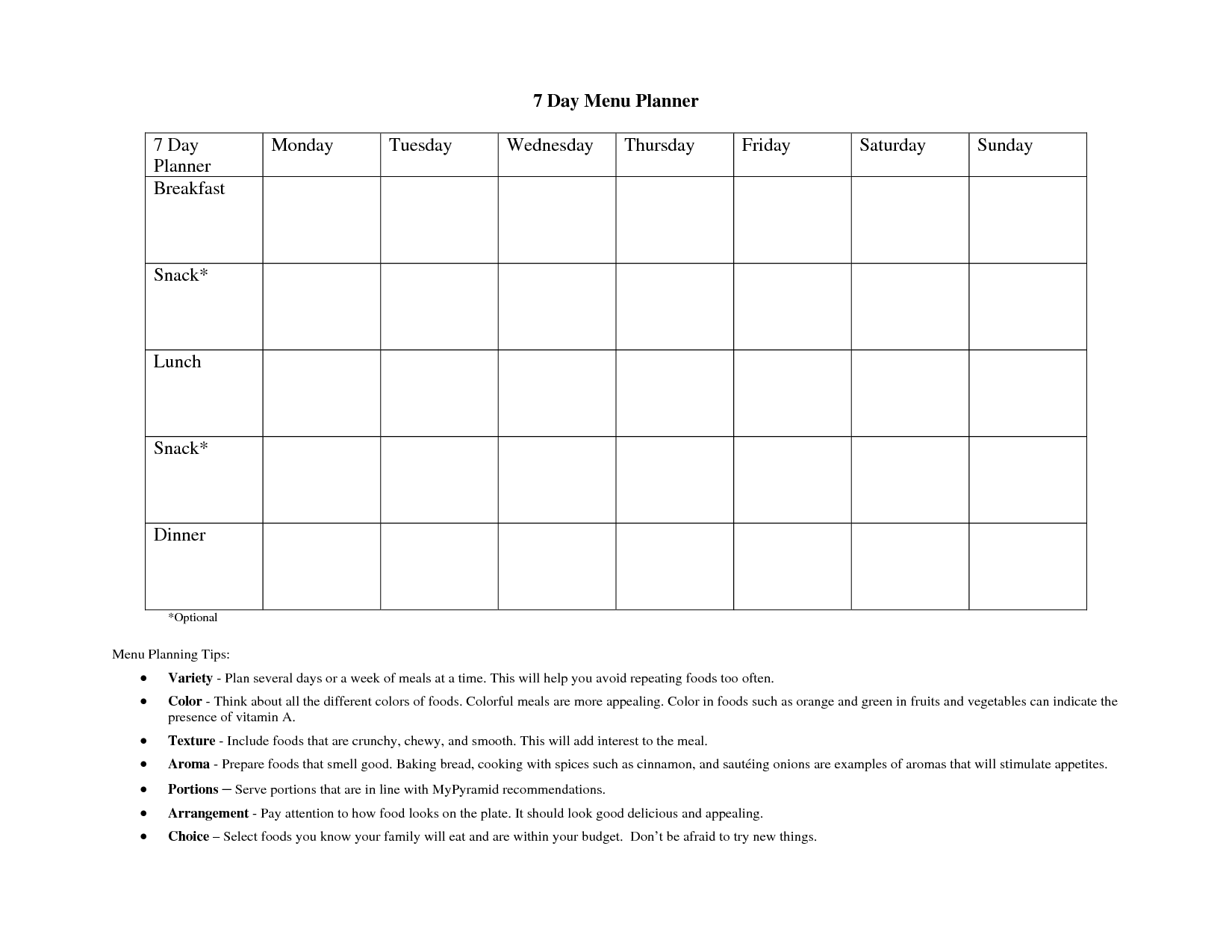 FREE 7 Day Meal Planning Template