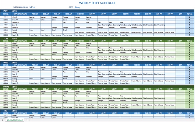 Employee Scheduling Example: 24/7, 8 hr rotating shifts, employees