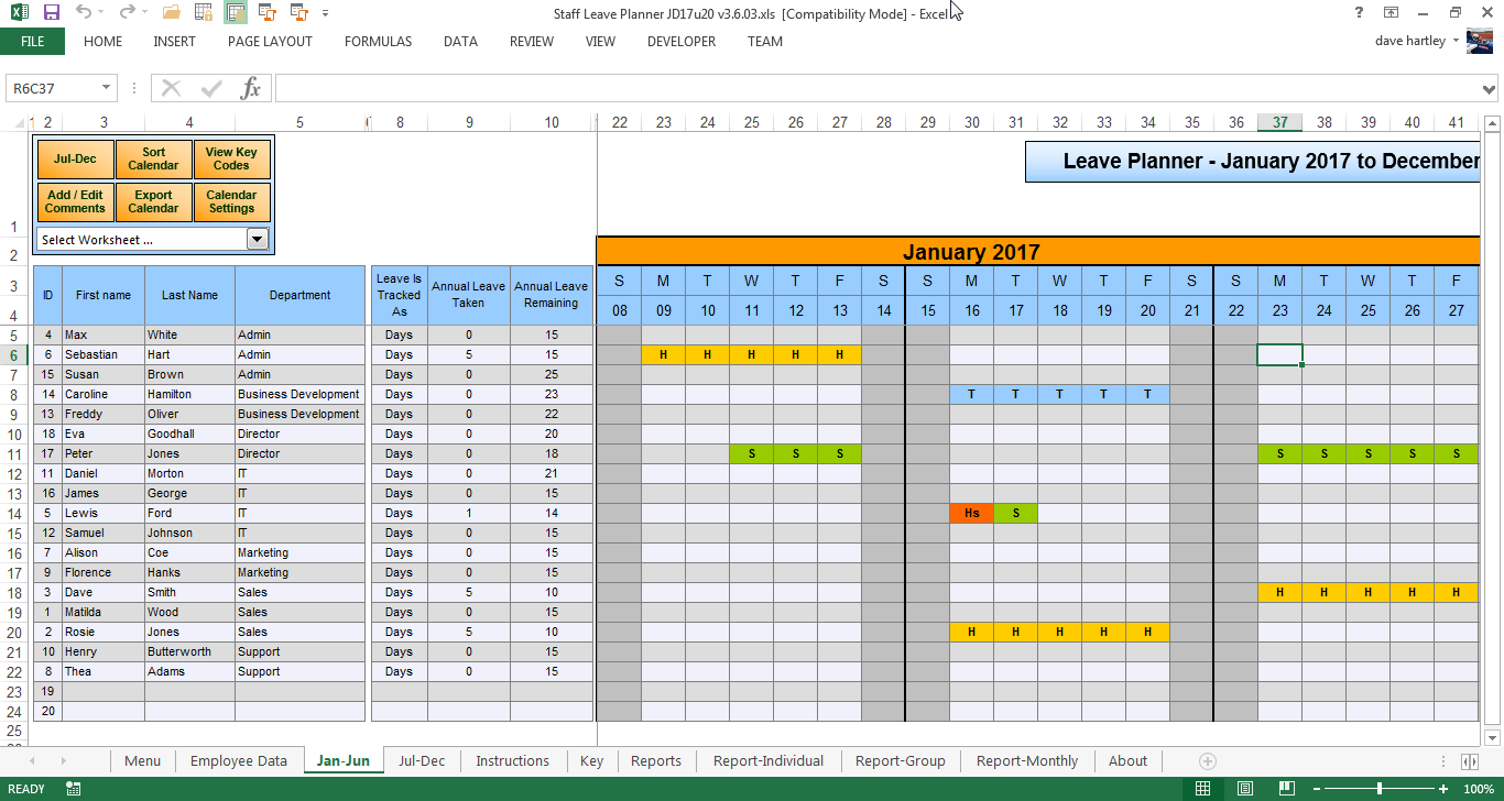 Anual Leave Planner Template: Manage Staff Leave with this Excel