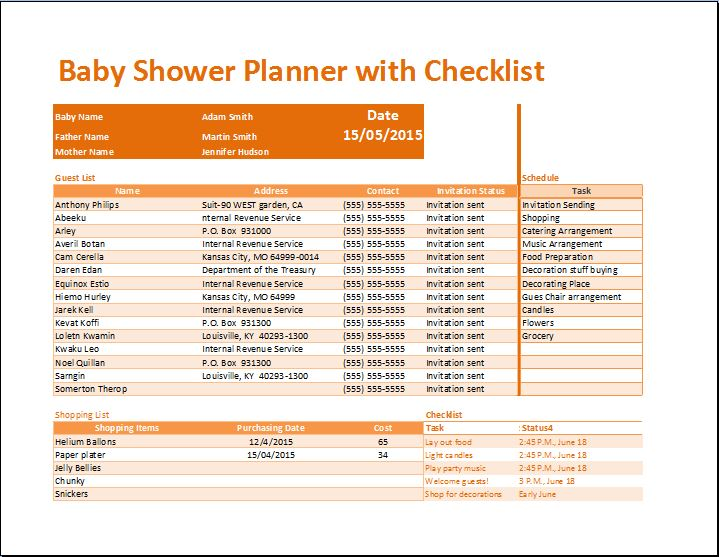 Kt's Baby Shower Planner with Checklist Template | Word & Excel