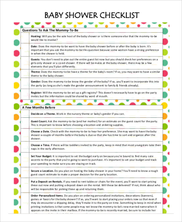 Printable Baby Shower Planner Template 8+ Free PDF Documents