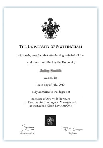 Your degree certificate The University of Nottingham Ningbo