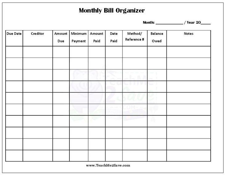 Bill Organizer Printable Template | Anna organizer | Pinterest