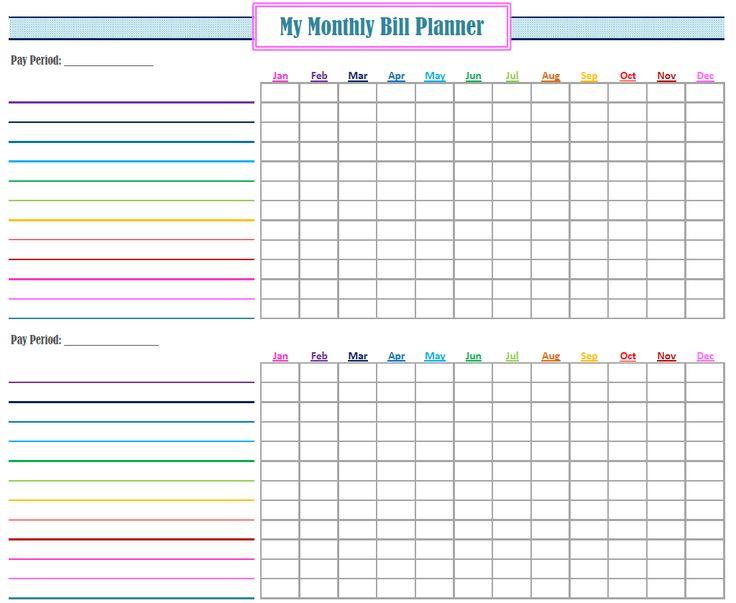 monthly bill planner design templates