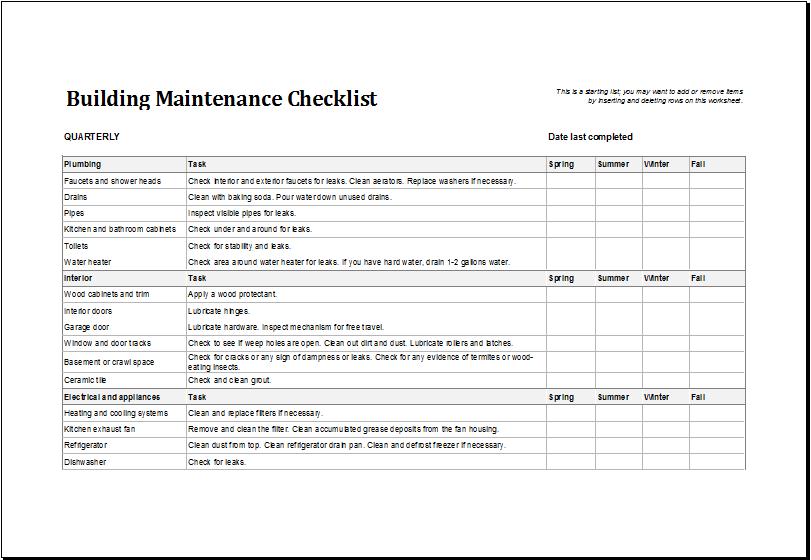 Building Maintenance Checklist Template | Excel Templates