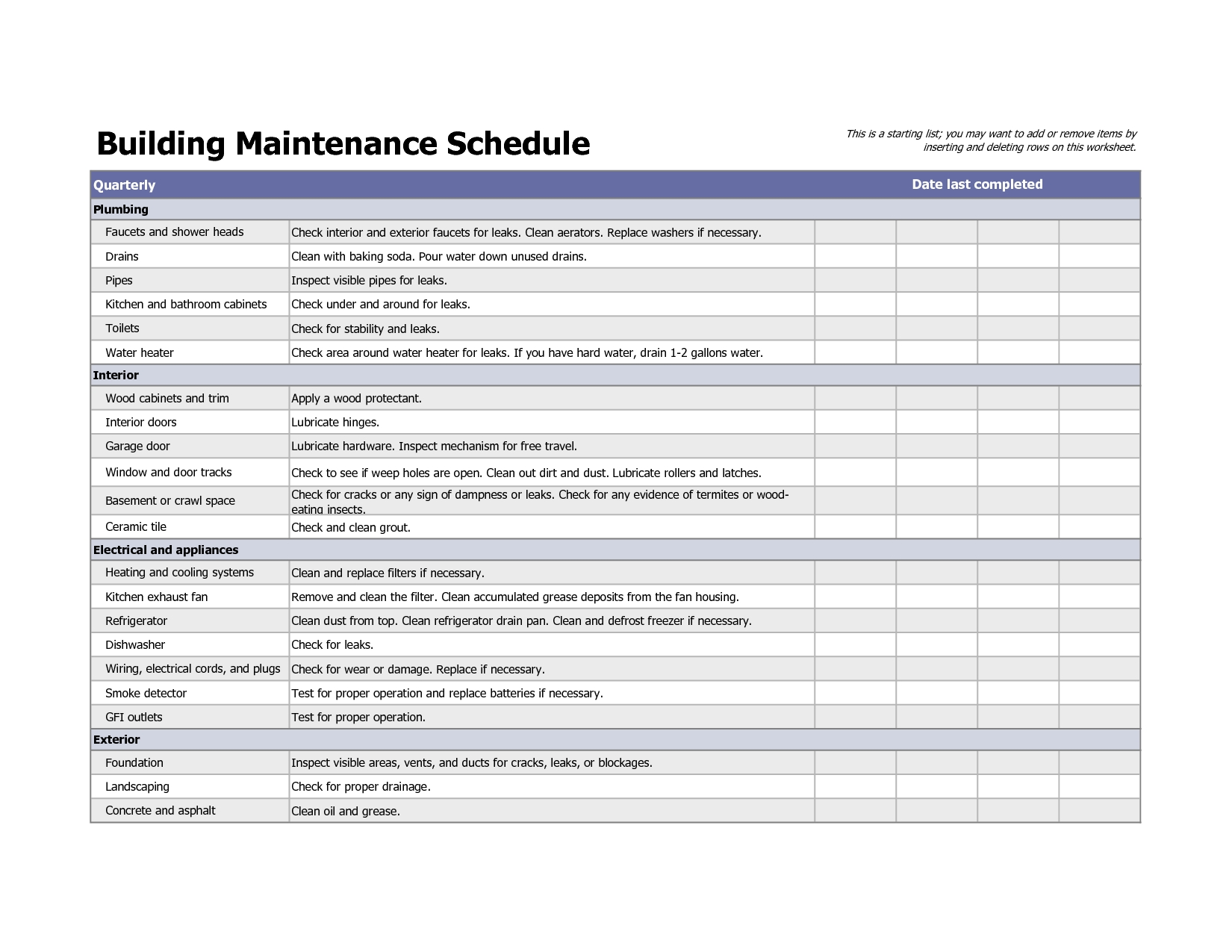 Building maintenance schedule excel template planner for Property site plan software