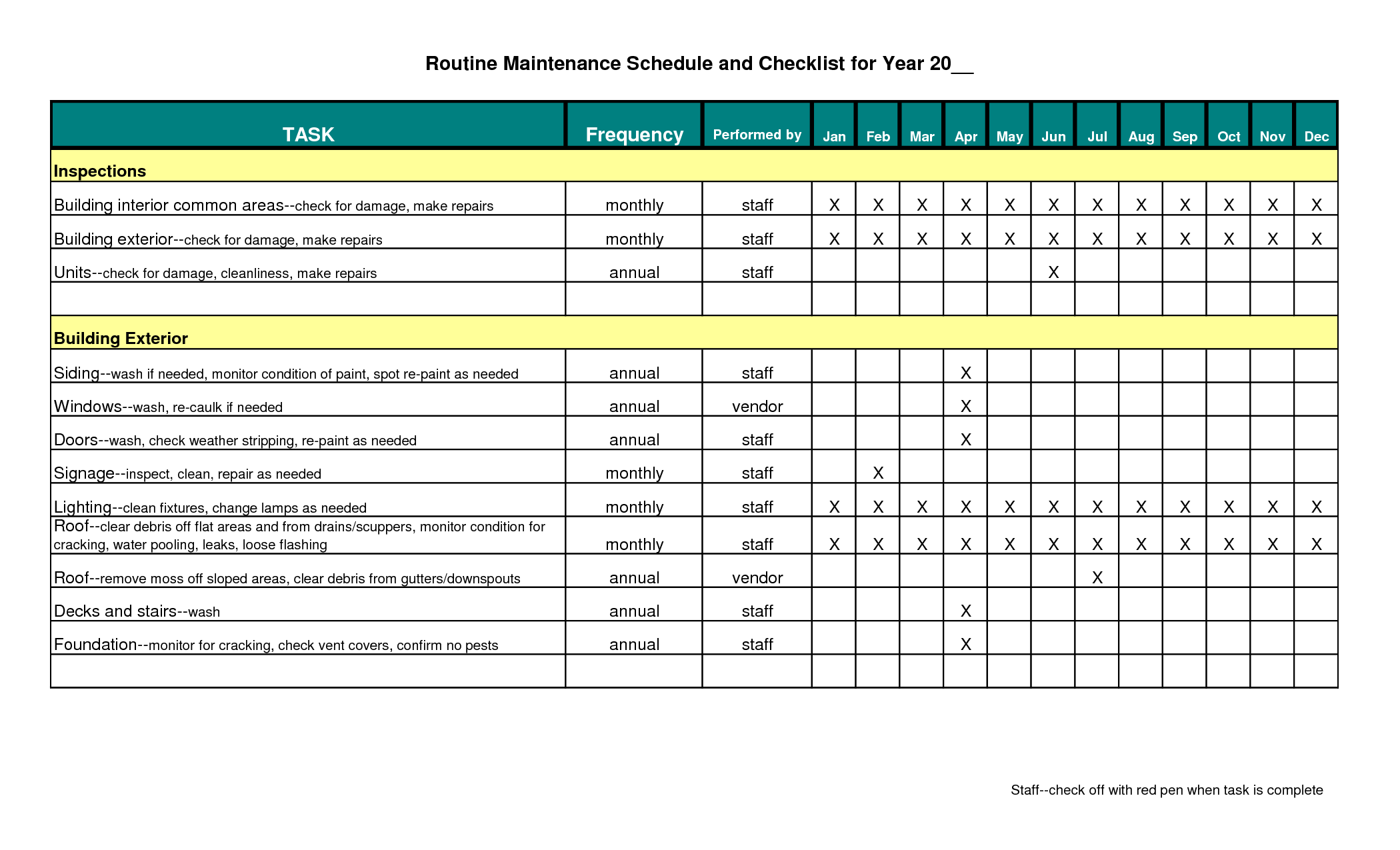 Building maintenance schedule excel template planner for Maintenance mode html template