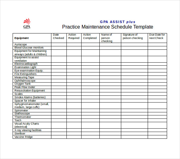 Maintenance Schedule Template Word