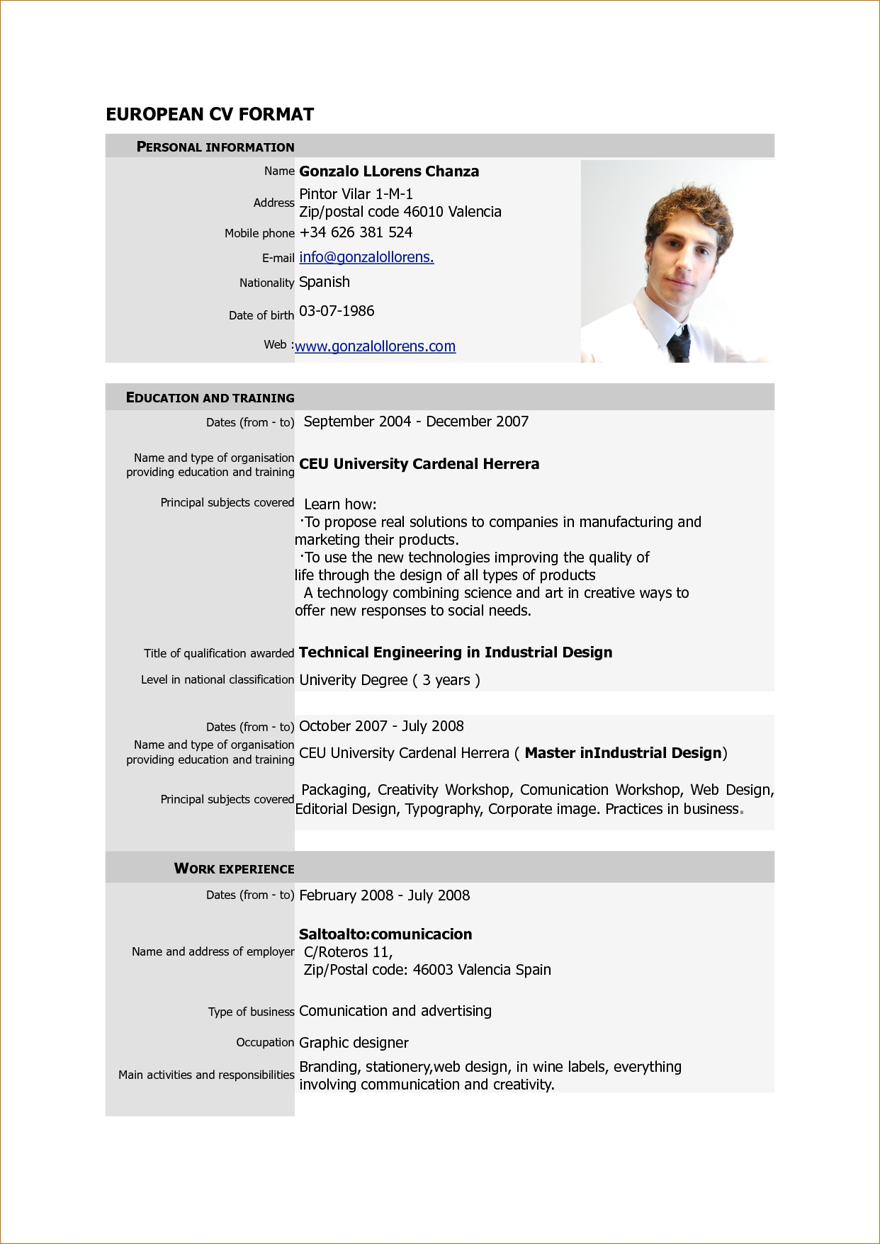 Examples Of Resumes : Cv Format Pdf For Job Resume Psd Template