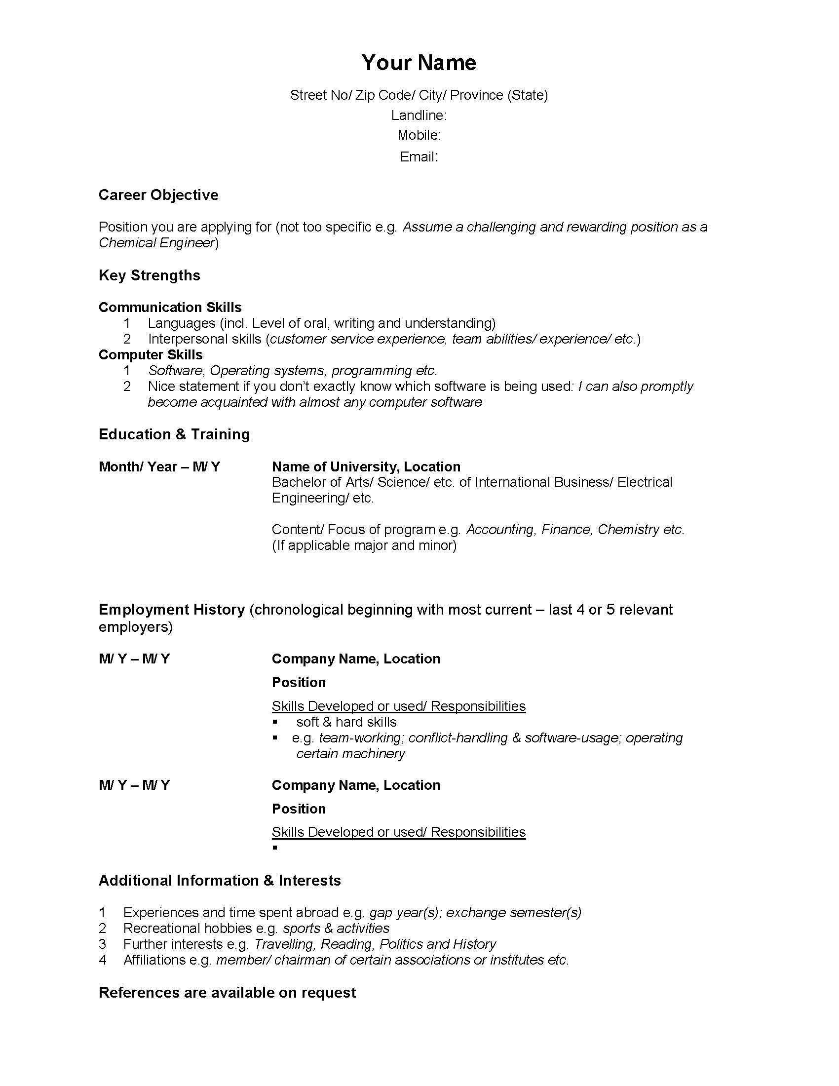 Formal Resume Format Word simplest resume format sample canadian