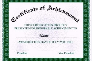 Certificate of Achievement Wording Example | TemplateZet