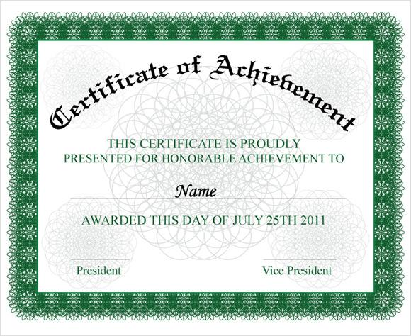 of achievement wording example docs