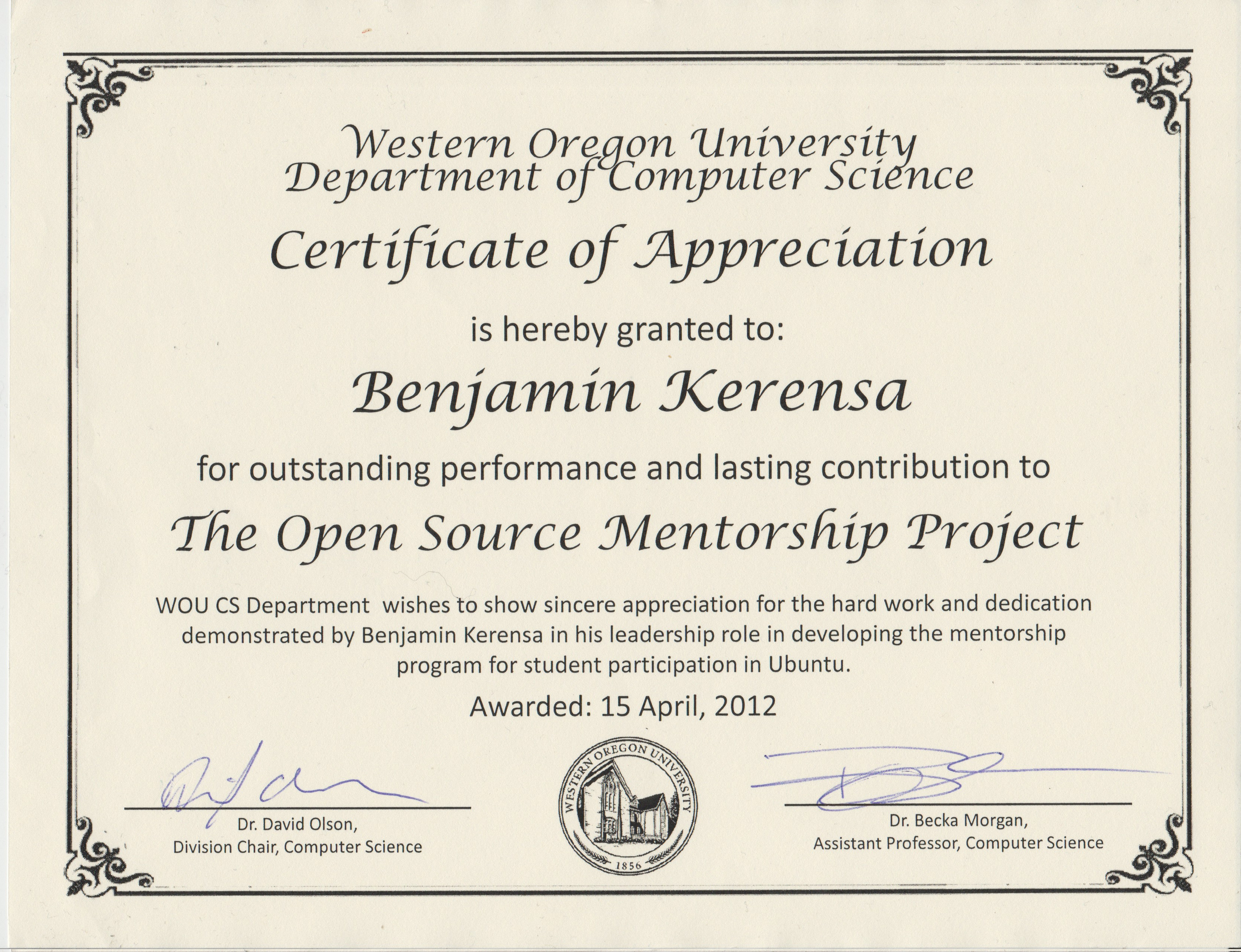 Western Oregon University Computer Science Certificate of
