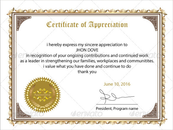 Sample Certificate of Appreciation Temaplate 12+ Download