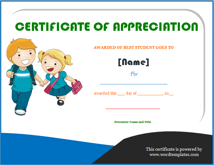 Certificate of appreciation for students planner template free certificate of appreciation for students yelopaper Image collections