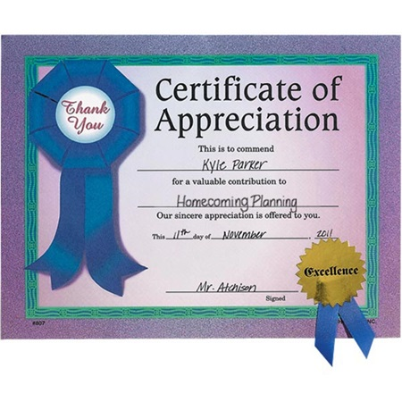 Very Simple Certificate of Appreciation Template Example with