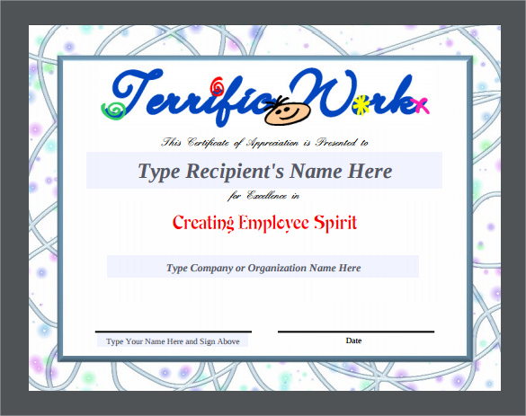 Certificate Of Appreciation Template Free Printable