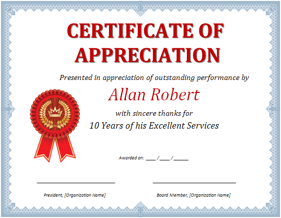 MS Word Certificate of Appreciation | Office Templates Online