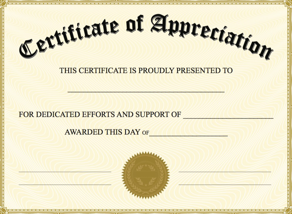 Certificate of Appreciation Templates – PDF Word – Get Calendar