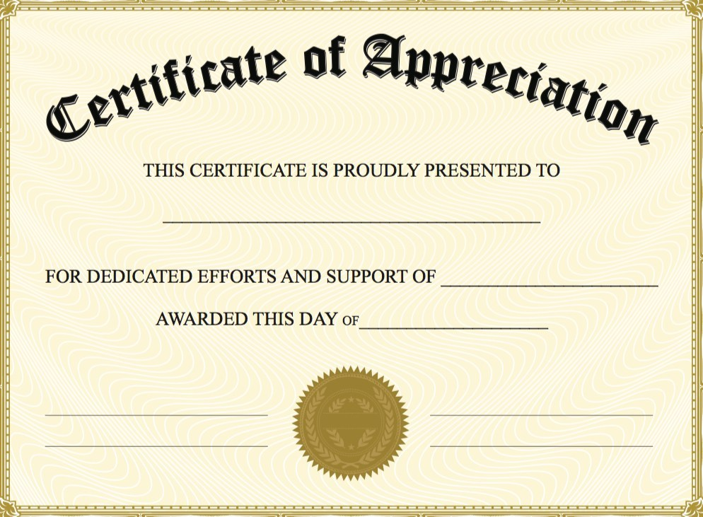 Certificate Of Appreciation Template Word Doc