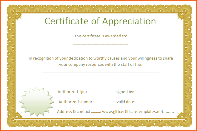 of appreciation template word golden border