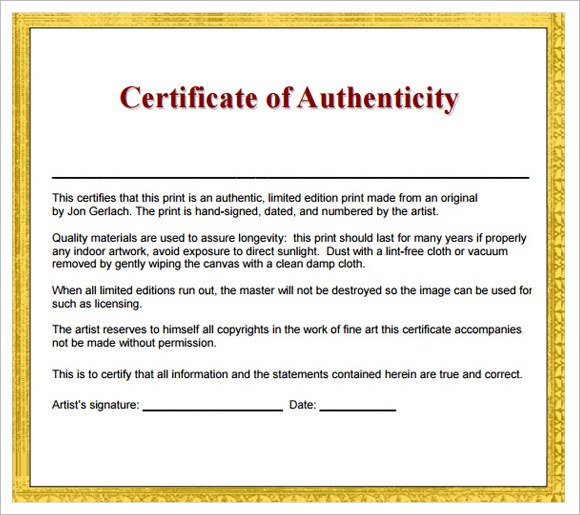 8+ Sample Certificate of Authenticity Documents in PDF, PSD