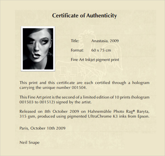 Sample Certificate of Authenticity Template 29+ Documents in PDF
