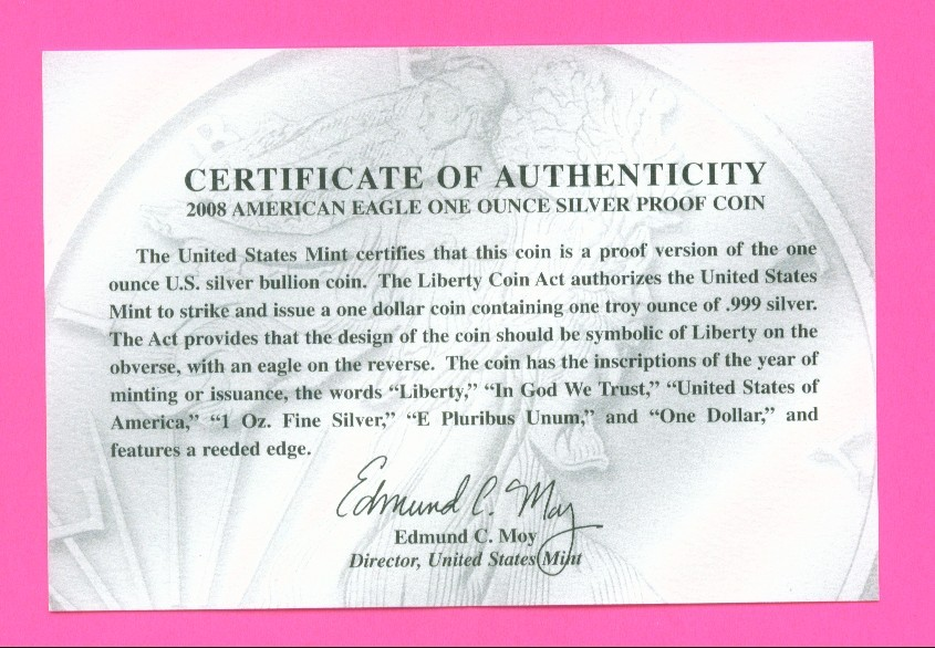Certificates of Authenticity for Silver Eagle dollar coins