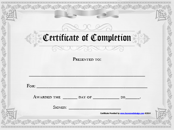 of completion template free download