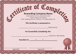 7 Free Certificate of Completion Templated Excel PDF Formats