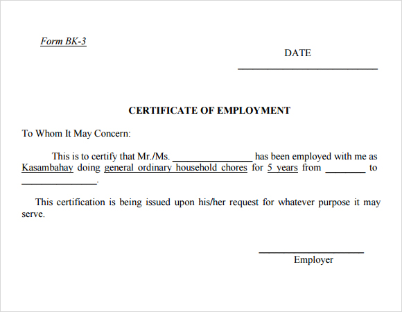 Certificate Of Employment Currently Employed Planner