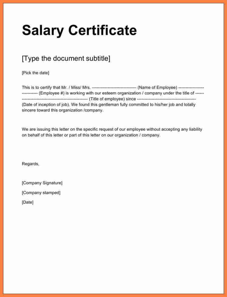 Certificate of employment sample with salary planner for Certification document template