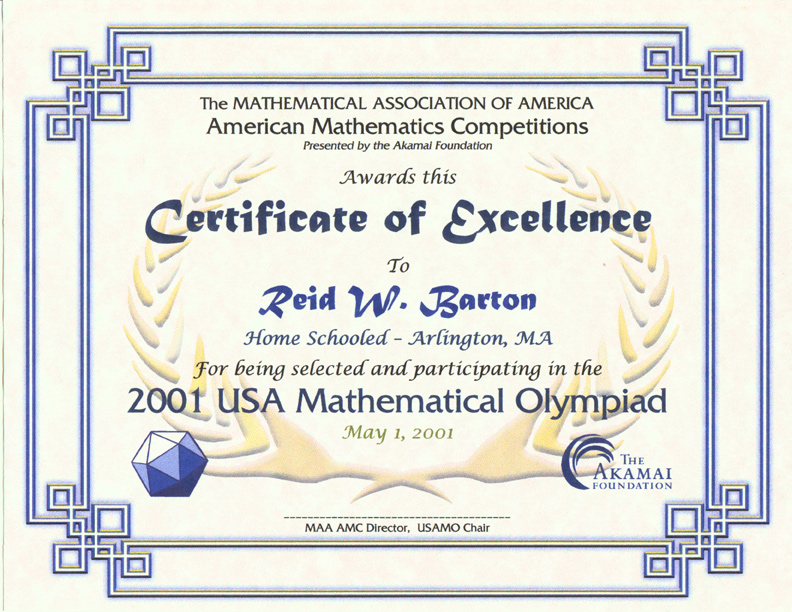 Awards for the AMC 10/AMC 12 Contests, AIME & USAMO Examinations