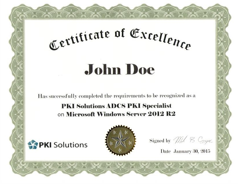 Certificate of Excellence for Students – PKI Solutions Inc.