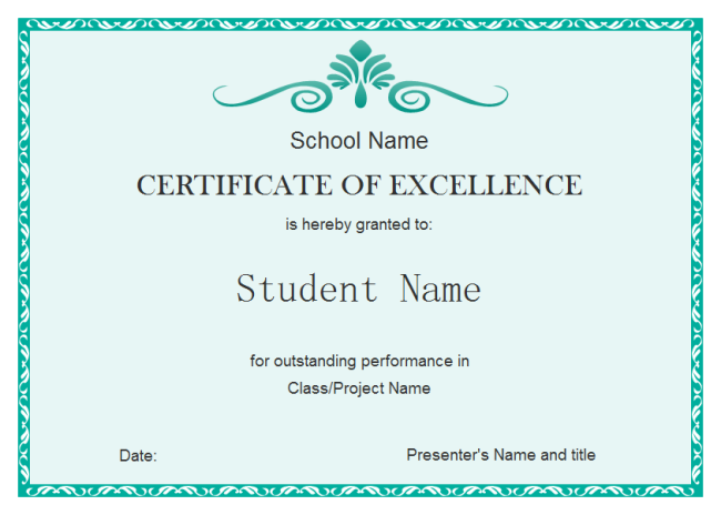 Student Excellent Certificate | Free Student Excellent Certificate