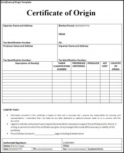 Certificate of origin template Free Formats Excel Word
