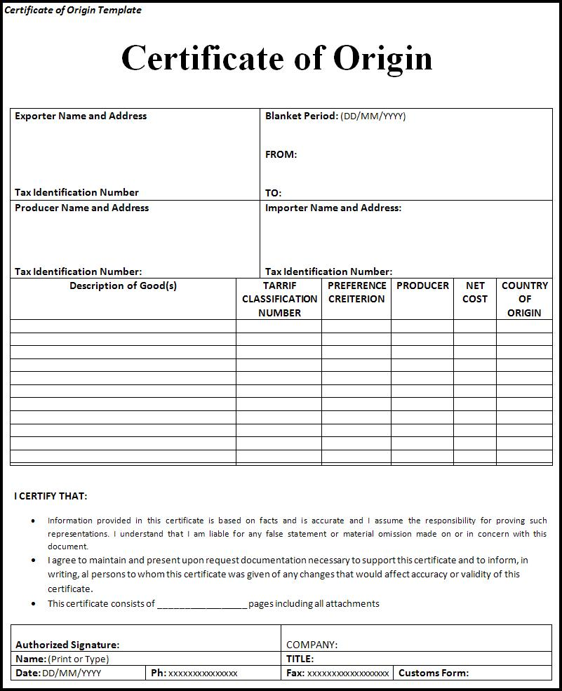 Professional Certificate Of Origin Nafta Form : Vlcpeque