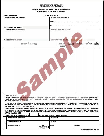Certificate of Origin | Customs Forms | International Services