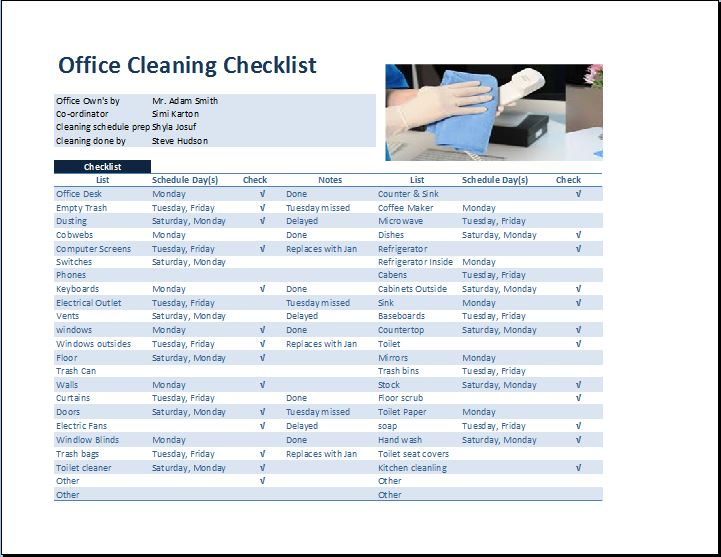 Commercial Office Cleaning Checklist Template | Word & Excel Templates