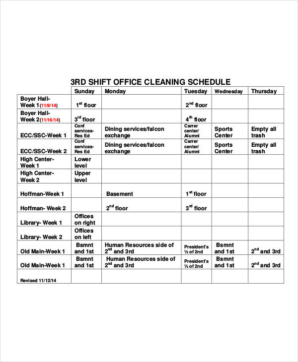 Office Cleaning Schedule Templates 7+ Free Word, PDF Format