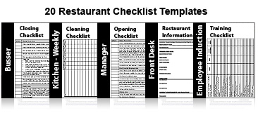20 Restaurant Checklists RDWizard. brought to you by