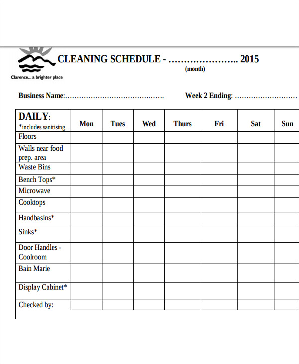 Kitchen Cleaning Schedule Template | Cleaning Schedule Template