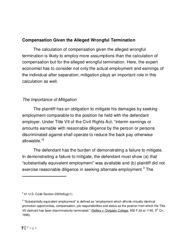 Calculation of Damages in Wrongful Termination Litigation
