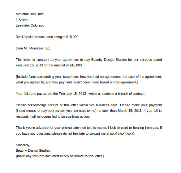 Letter of Indemnity